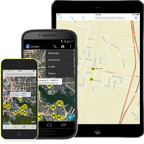 iPad and iPhone with Locator App and link to the App Store