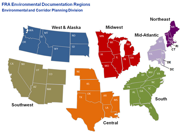 FRA Environmental Documentation Regions