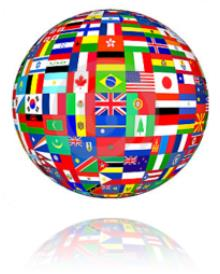 Globe made up of multiple national flags